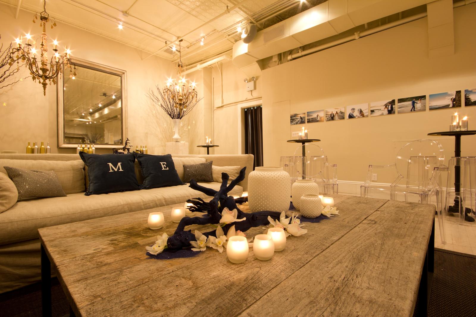 Custom wedding decor in The Sixth Floor Loft's lounge space